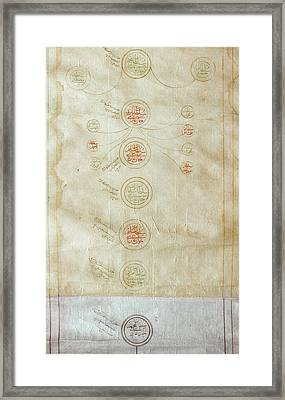 Genealogical Scroll From Turkey Framed Print by MotionAge Designs