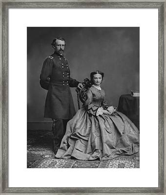 General Custer And His Wife Libbie Framed Print by War Is Hell Store