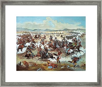 General Custer's Last Stand At Battle Of Little Bighorn, June 25, 1876 Framed Print