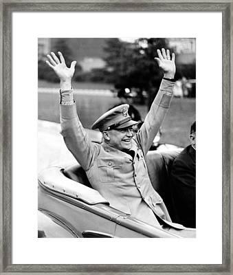 General Dwight Eisenhower Raises Both Framed Print by Everett