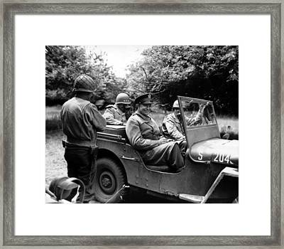 General Eisenhower In A Jeep Framed Print by War Is Hell Store