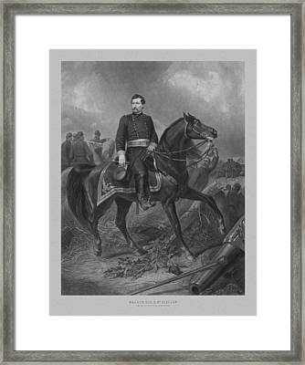 General George Mcclellan On Horseback Framed Print by War Is Hell Store