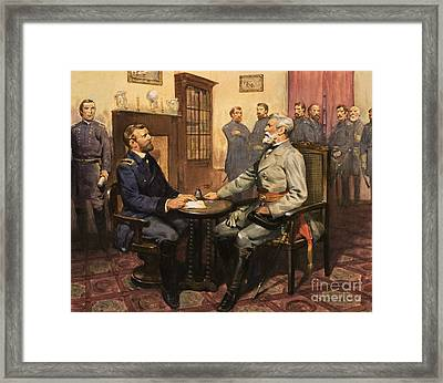 General Grant Meets Robert E Lee  Framed Print by English School