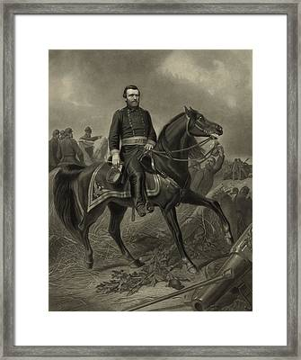 General Grant On Horseback  Framed Print by War Is Hell Store