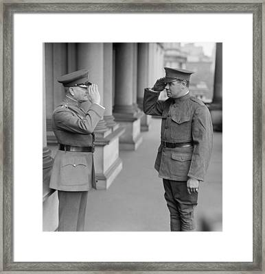 General John Pershing Saluting Babe Ruth Framed Print by War Is Hell Store
