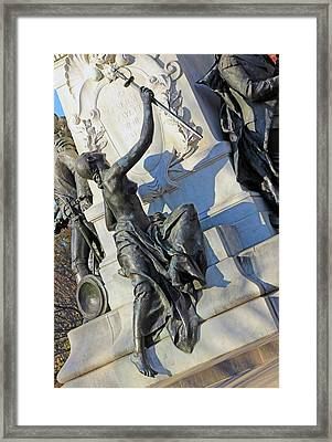 General Lafayette Memorial -- The Lady Looking Up At Lafayette Framed Print by Cora Wandel