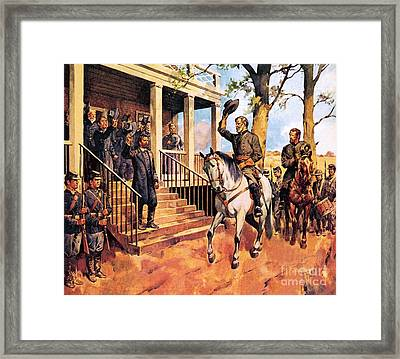 General Lee And His Horse 'traveller' Surrenders To General Grant By Mcconnell Framed Print by James Edwin