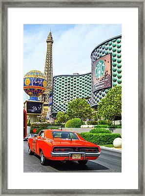 General Lee On The Vegas Strip Framed Print by Tommy Anderson