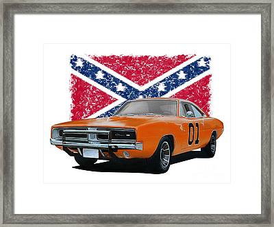 General Lee Rebel Framed Print by Paul Kuras