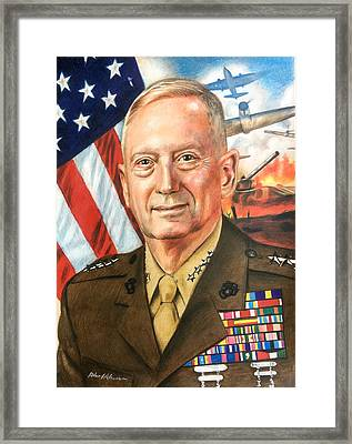 General Mattis Portrait Framed Print by Robert Korhonen