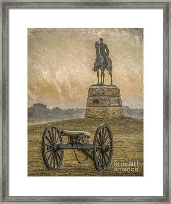General Meade Statue And Cannon Gettysburg Framed Print by Randy Steele