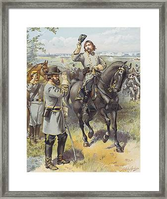 General Pickett Taking The Order To Framed Print by Vintage Design Pics