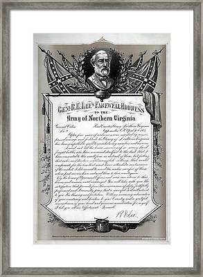 General Robert E. Lee's Farewell Address To Confederate Soldiers Framed Print by Daniel Hagerman