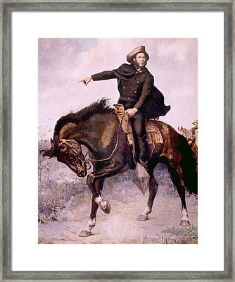 General Sam Houston At The Battle Framed Print by Everett