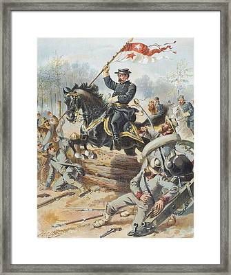 General Sheridan At The Battle Of Five Framed Print by Vintage Design Pics