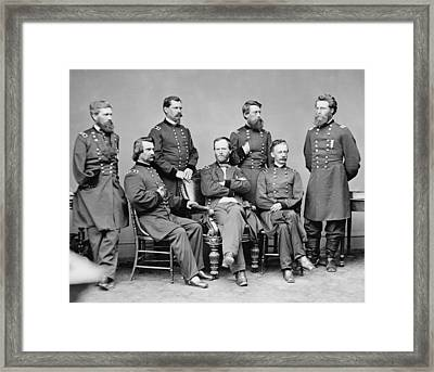 General Sherman And His Staff  Framed Print