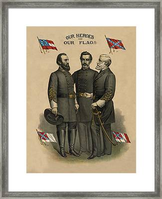 Generals Jackson Beauregard And Lee Framed Print