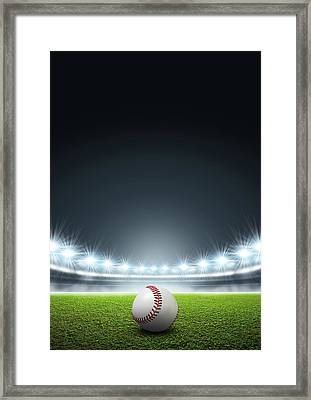 Generic Floodlit Stadium With Baseball Framed Print by Allan Swart