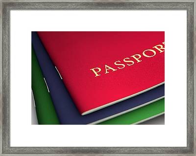 Generic Passport Stack  Framed Print by Allan Swart