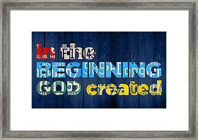 Genesis 1 1 In The Beginning God Created Bible Verse Recycled Vintage License Plate Art Framed Print
