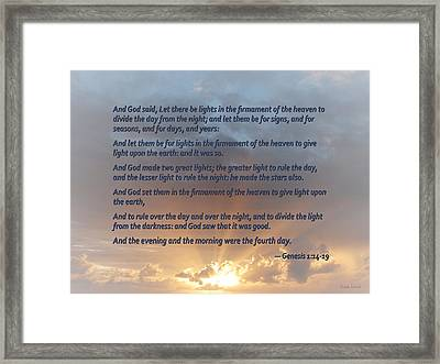 Genesis 1 14-19 ... Let There Be Lights In The Firmament Of The Heaven Framed Print by Susan Savad