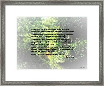 Genesis 1 9-13 ... Let The Dry Land Appear Framed Print by Susan Savad
