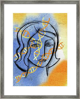 Framed Print featuring the painting Genetics by Leon Zernitsky
