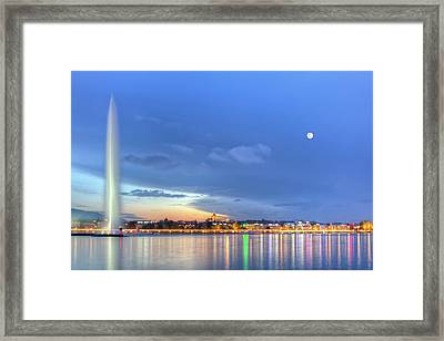 Geneva Lake With Famous Fountain, Switzerland, Hdr Framed Print