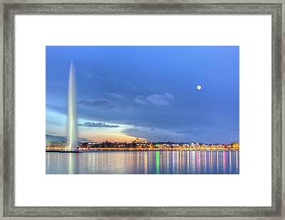 Geneva Lake With Famous Fountain, Switzerland, Hdr Framed Print by Elenarts - Elena Duvernay photo