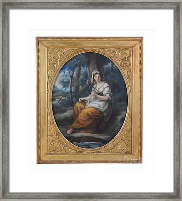 Genevieve With Distaff In A Landscape Pastel Framed Print by MotionAge Designs