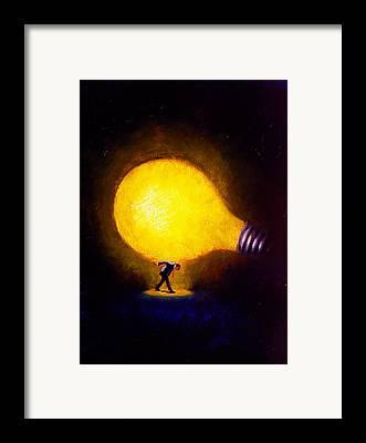 Light Bulb Paintings Framed Prints