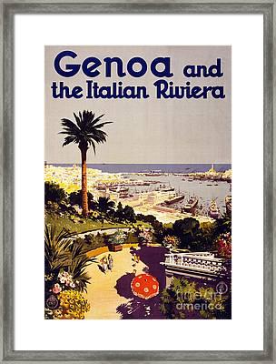 Genoa And The Italian Rivera Vintage Poster Restored Framed Print by Carsten Reisinger