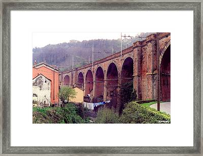 Genoa Railroad Bridge Framed Print by Al Blackford