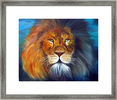 Gentle Lion King Framed Print by LaVonne Hand