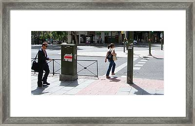 Gentleman And Lady On Princesa Street - Madrid Framed Print by Thomas Bussmann