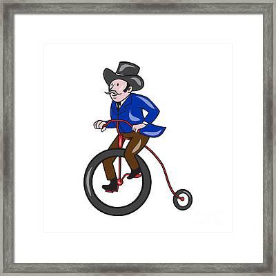 Gentleman Riding Penny-farthing Cartoon Framed Print
