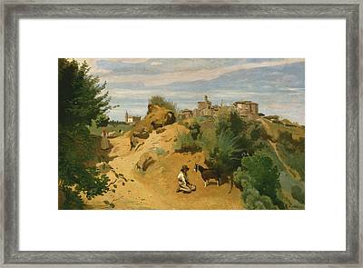 Genzano Framed Print by Jean-Baptiste-Camille Corot