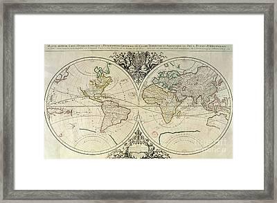 Geo-hydrographic Mappamonde Framed Print by French School