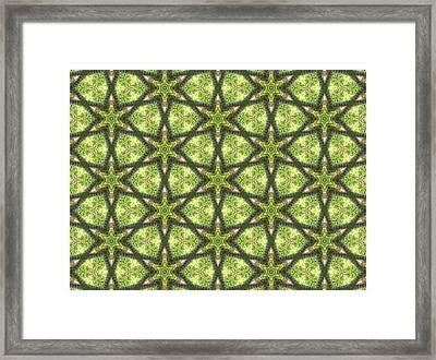 Geo Stars In Greens Framed Print