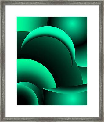 Geometric Abstract In Green Framed Print by David Lane