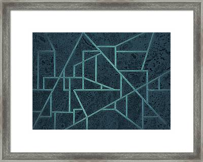 Geometric Abstraction In Blue Framed Print