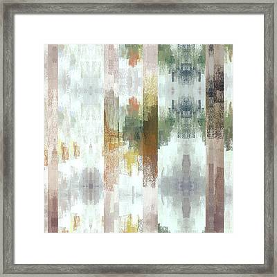Geometric Bars And Abstract Muted Colors Framed Print by Brandi Fitzgerald