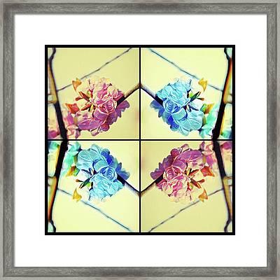 Geometric Cherry Blossoms Framed Print