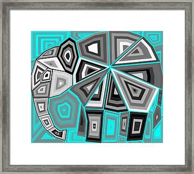 Geometric Elephant Framed Print by Chris Butler