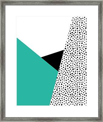 Geometric Modern Triangles With Spots Framed Print by Rachel Follett