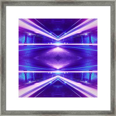 Geometric Street Night Light Pink Purple Neon Edition  Framed Print