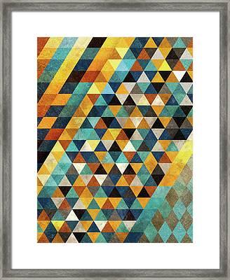 Geometric Sunset Framed Print by Francisco Valle