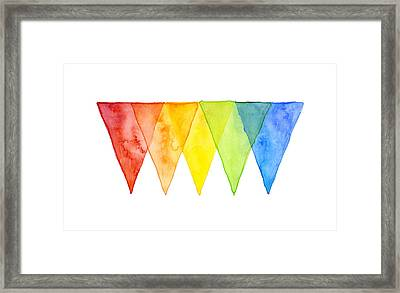 Geometric Watercolor Pattern Rainbow Triangles Framed Print