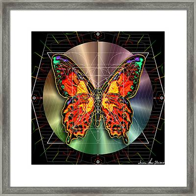 Framed Print featuring the digital art Geometron Fyr Lepidoptera by Iowan Stone-Flowers