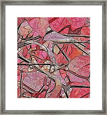 Geometry Of Leaves In Pink Framed Print